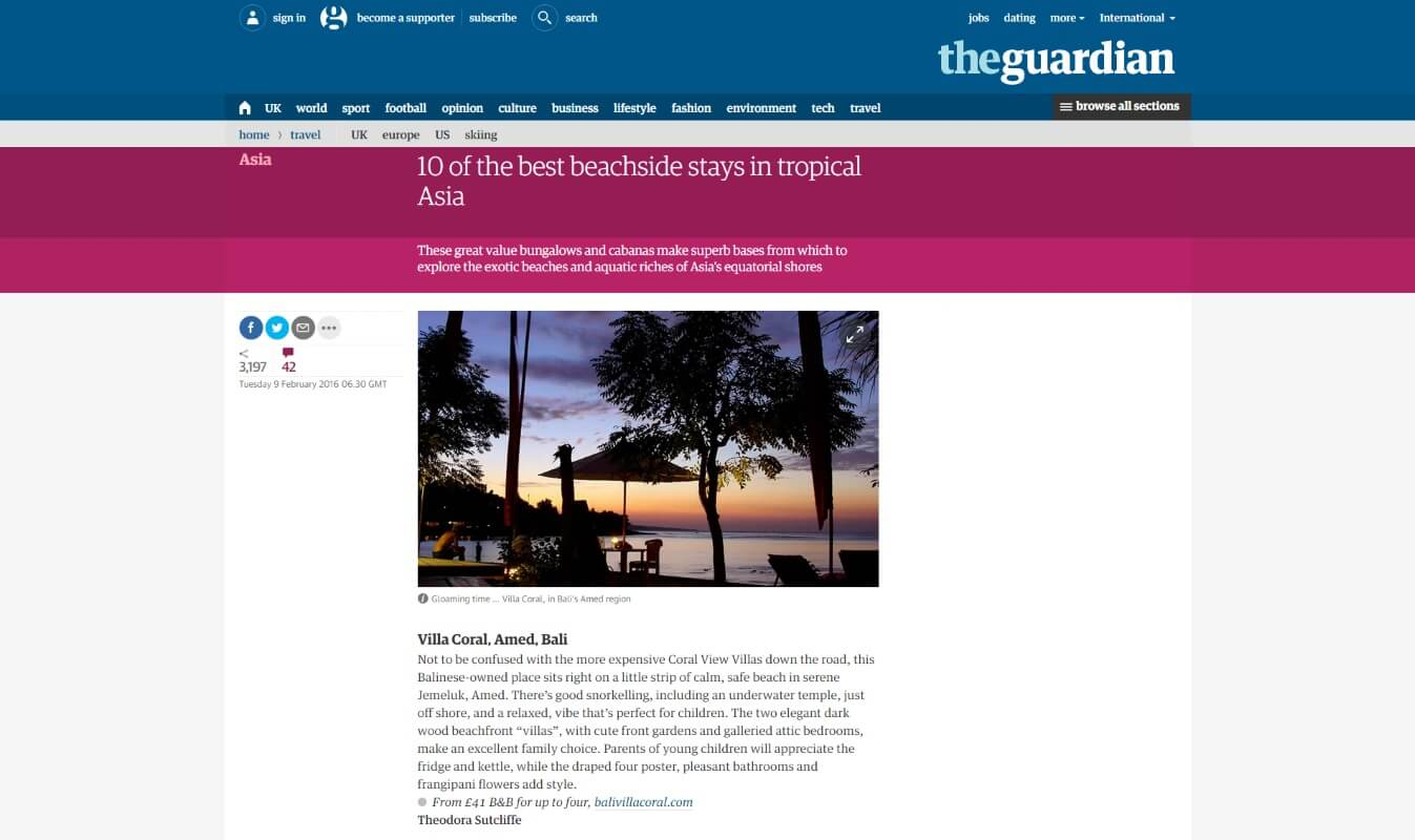 Bali Villa Coral in an article in the Guardian